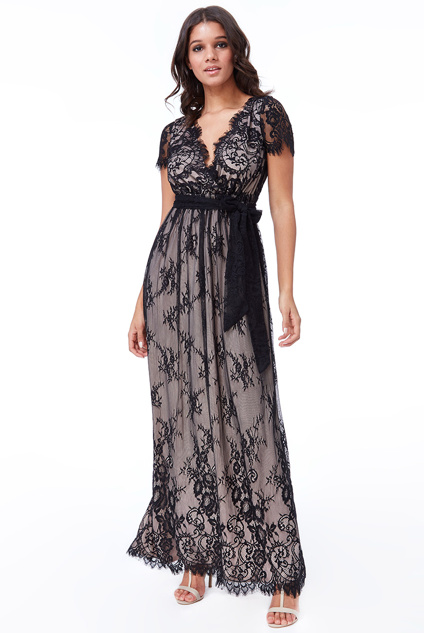 Wholesale Scalloped Hem Lace Maxi Dress