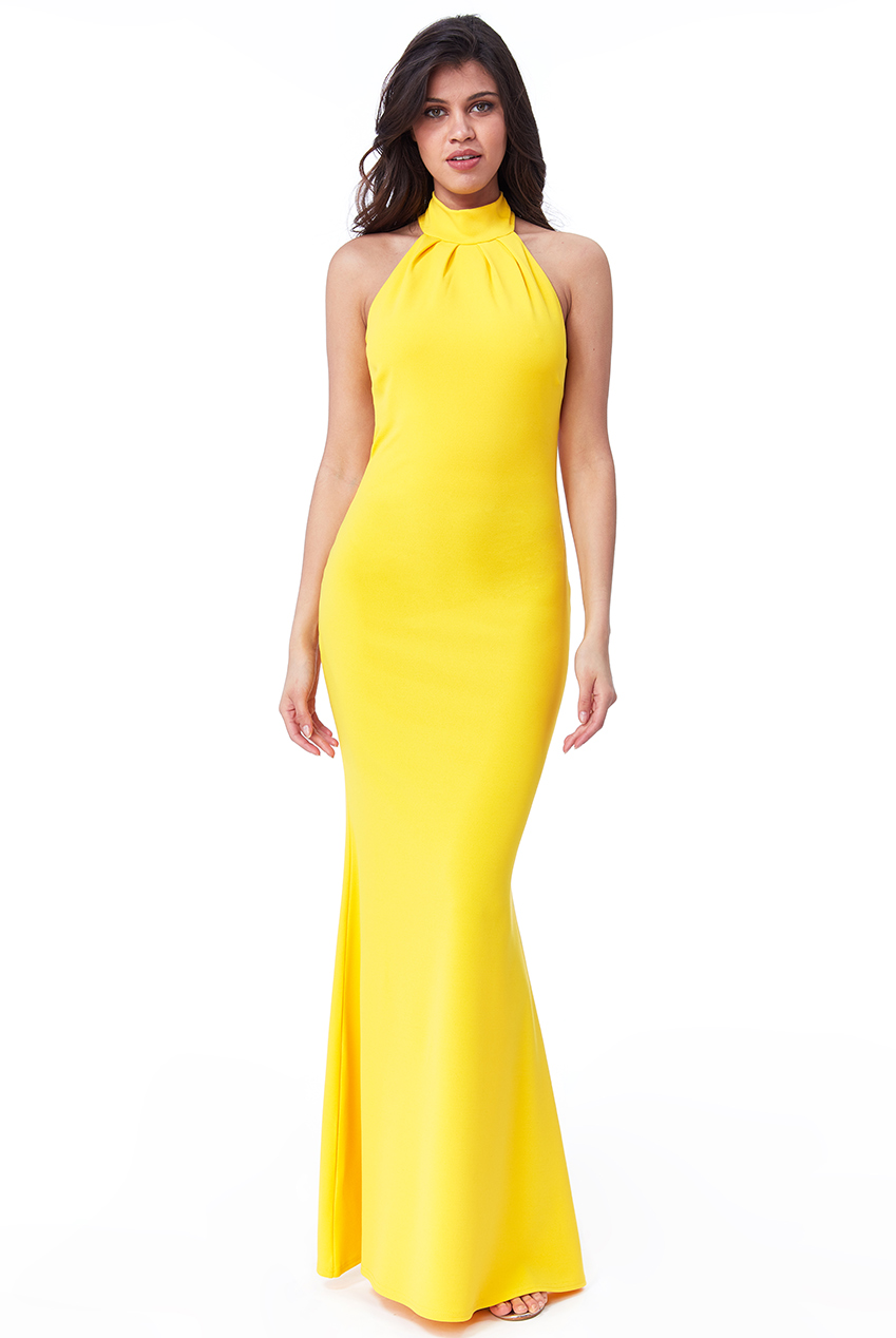Wholesale High Neck Open Back Maxi Dress