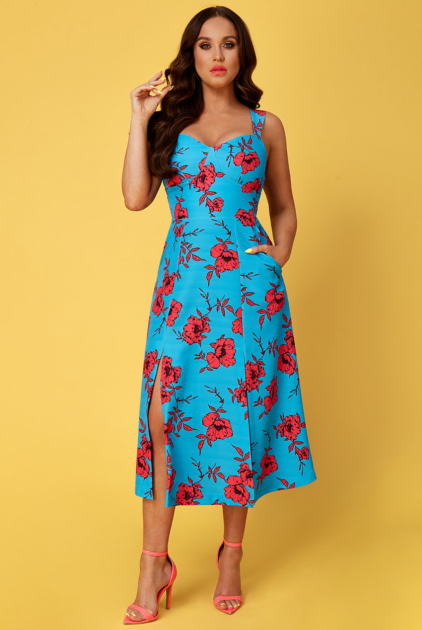 Wholesale Vicky Pattison – Floral Strap Tea Dress With Slits