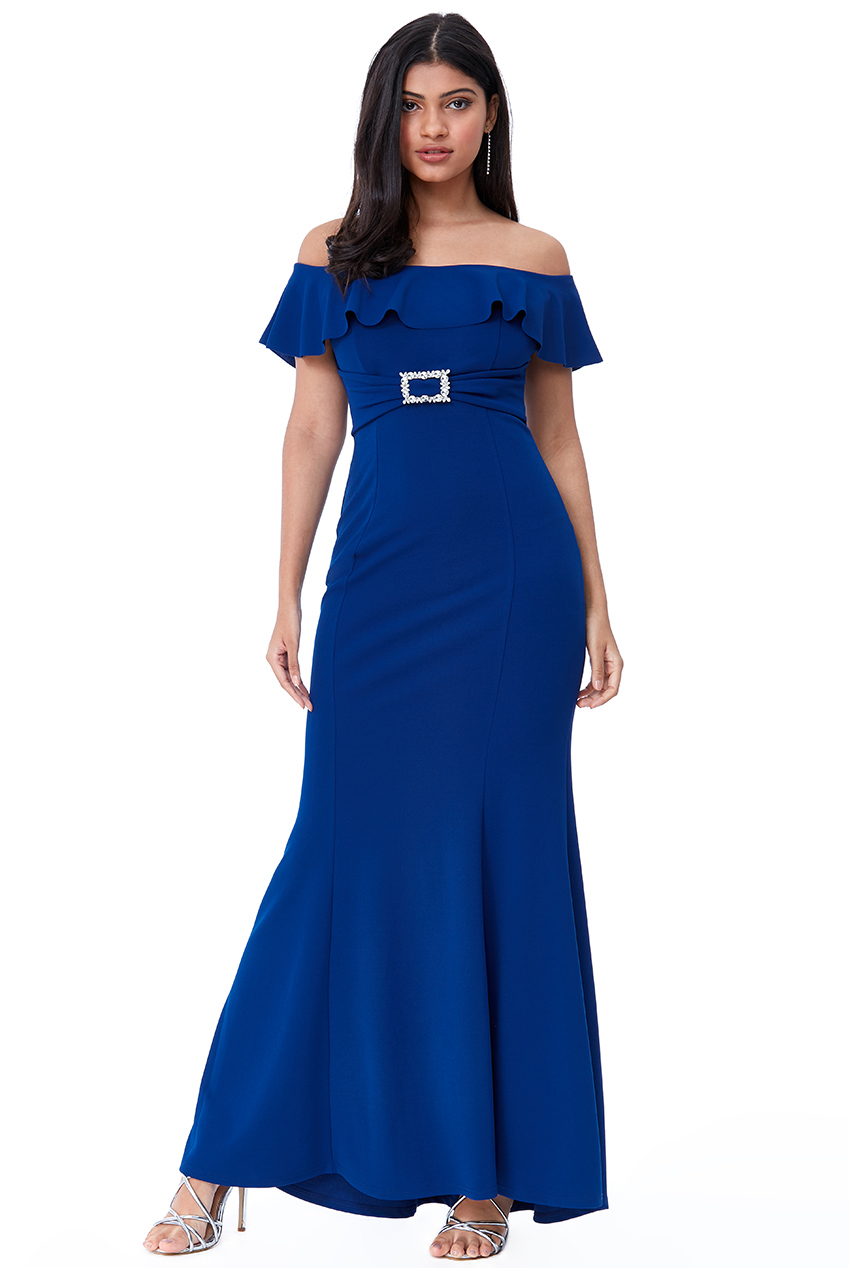 Wholesale Frilled Bardot Maxi Dress with Diamante Trim