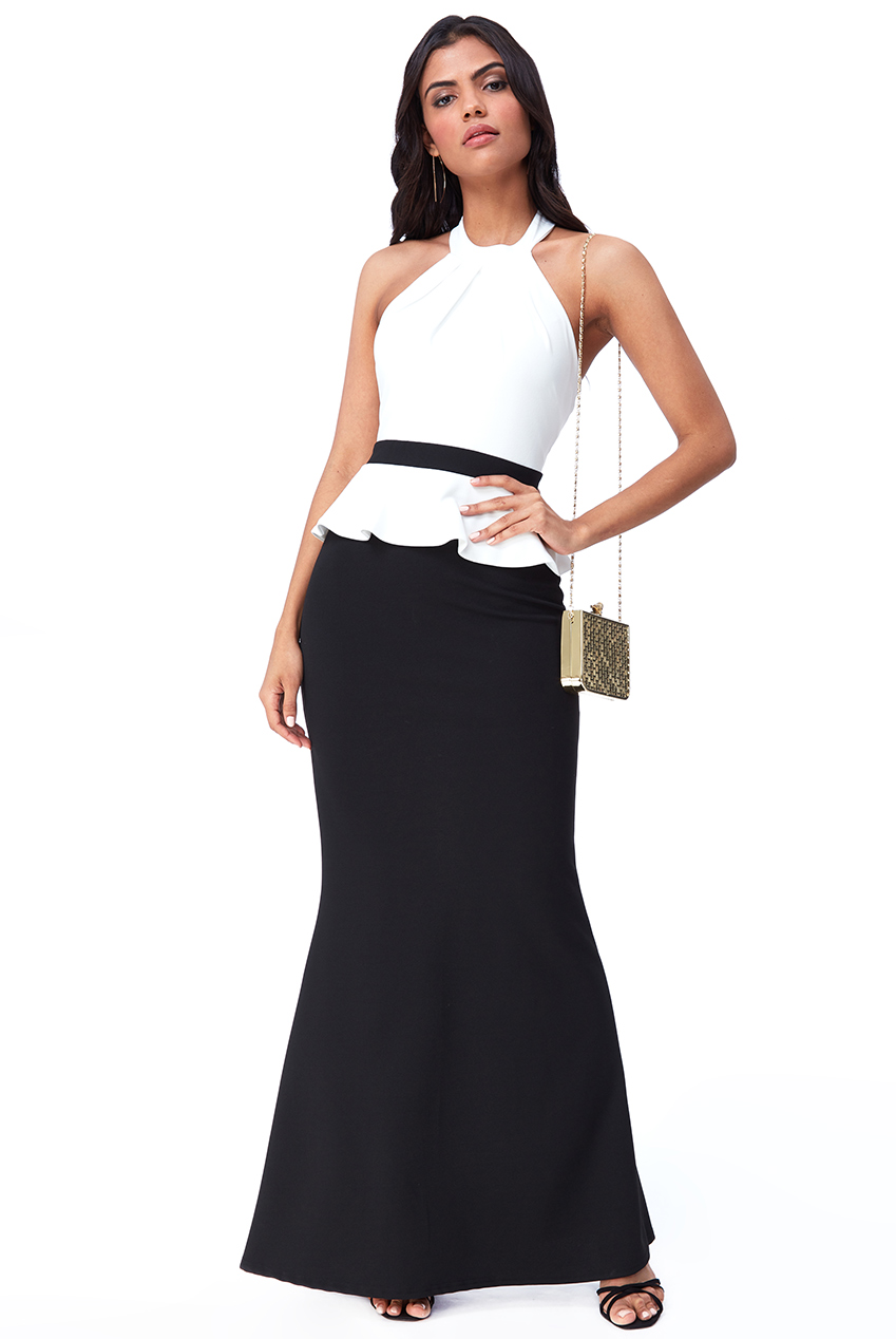Wholesale Contrast Peplum Maxi Dress