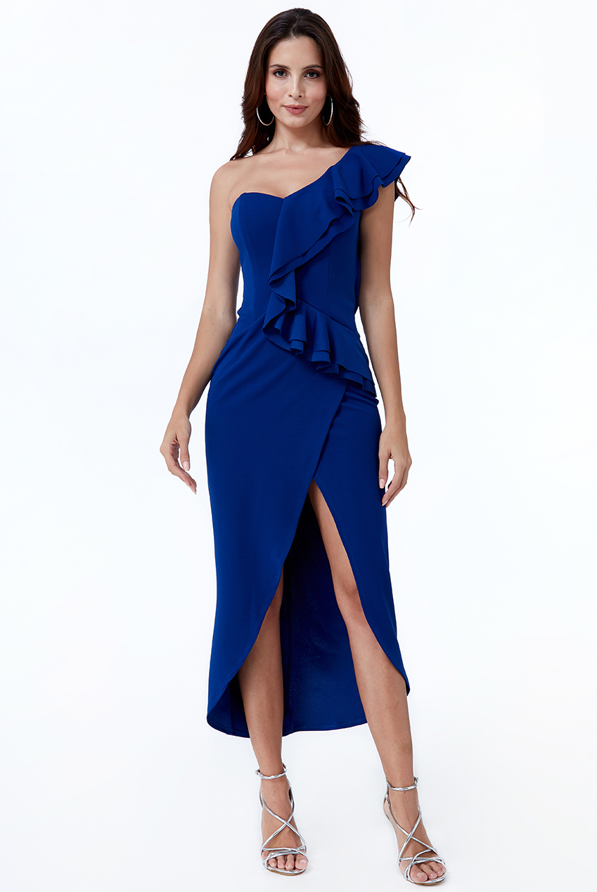 Wholesale One Shoulder Frill Maxi Dress