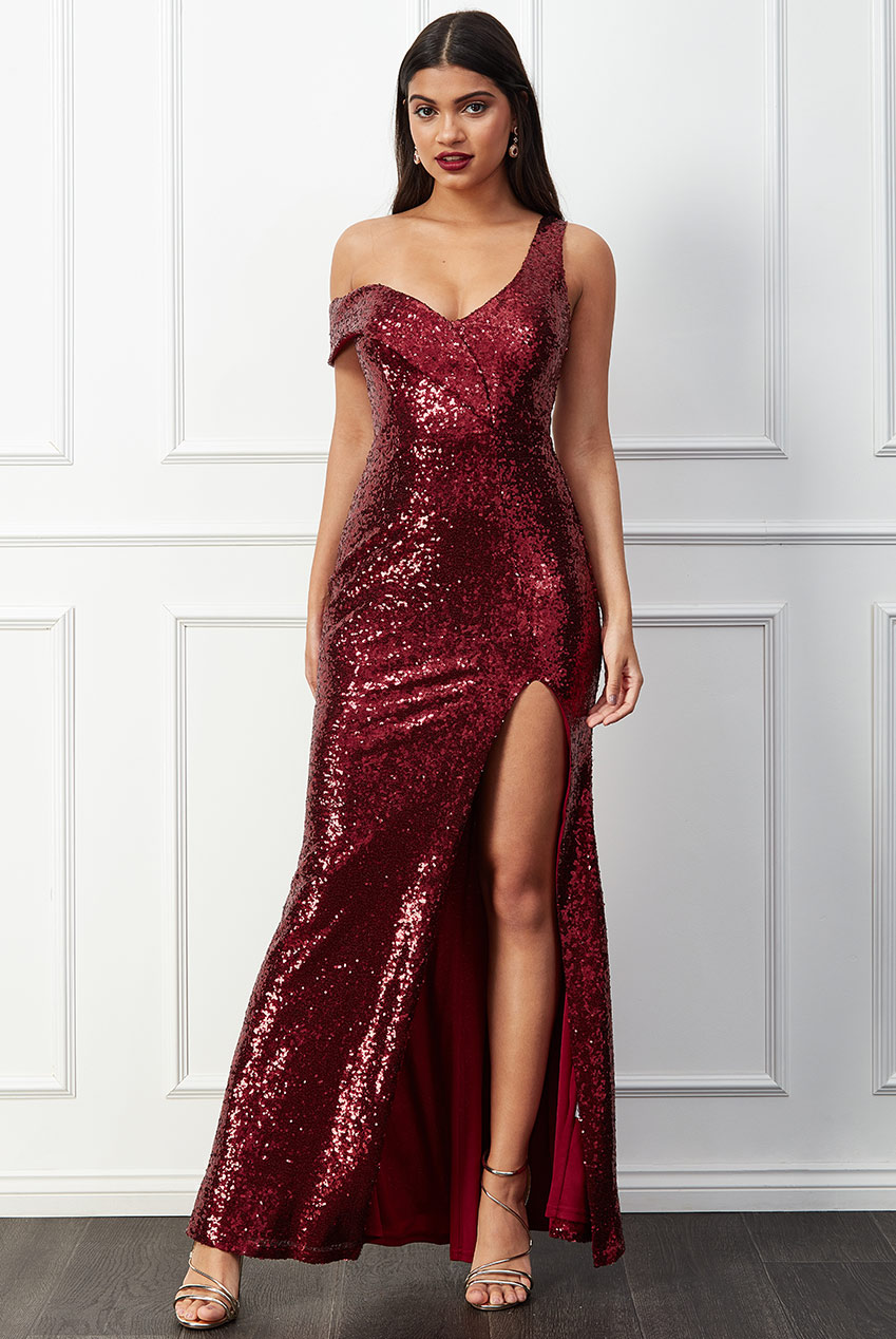 Wholesale Off The Shoulder Bandeau Sequin Maxi Dress