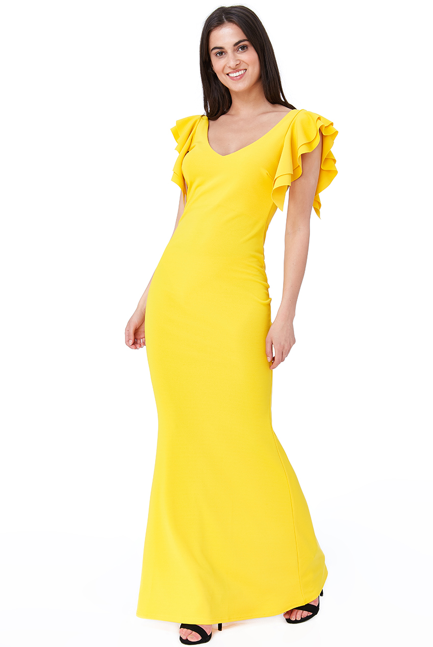Wholesale Frill Sleeve Cross Back Maxi