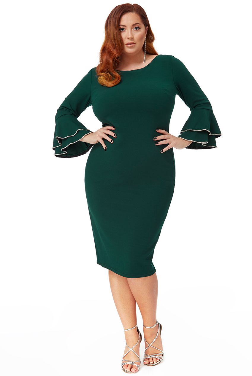 Wholesale Plus Size Double Frill Sleeve Midi Dress With Diamante Trim