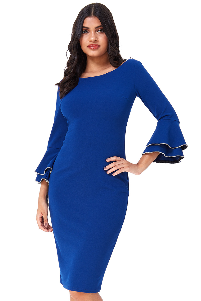 Wholesale Double Frill Sleeve Midi Dress With Diamante Trim