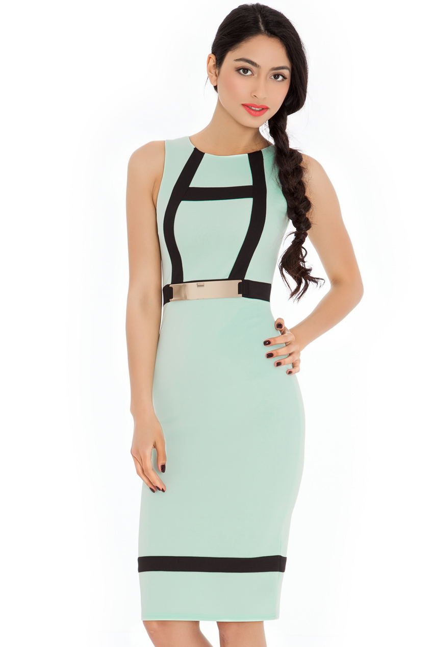 Wholesale Midi Scuba Bodycon Dress With Gold Plate Panel Detail