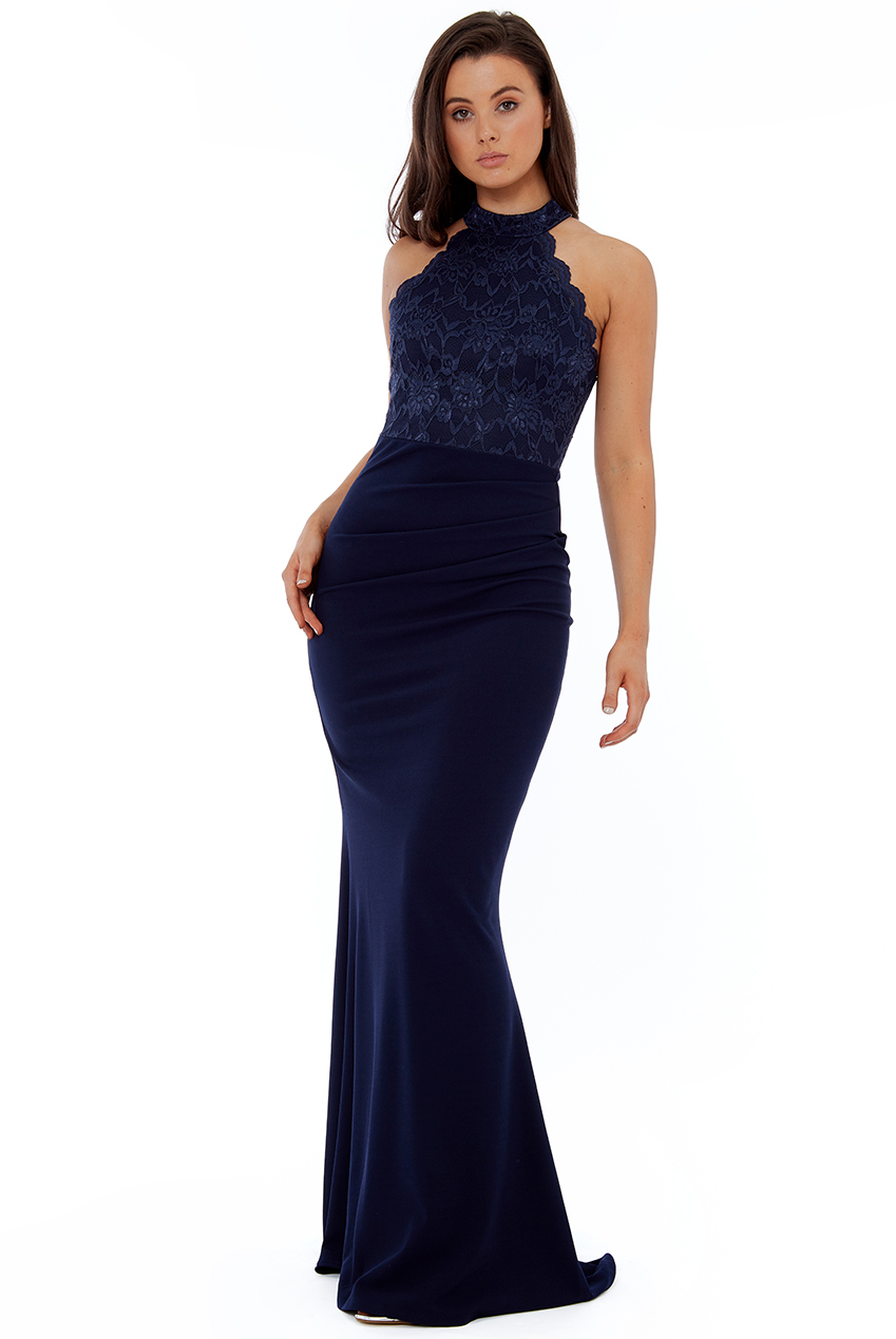 Wholesale Scallop Edge High Neck Maxi Dress