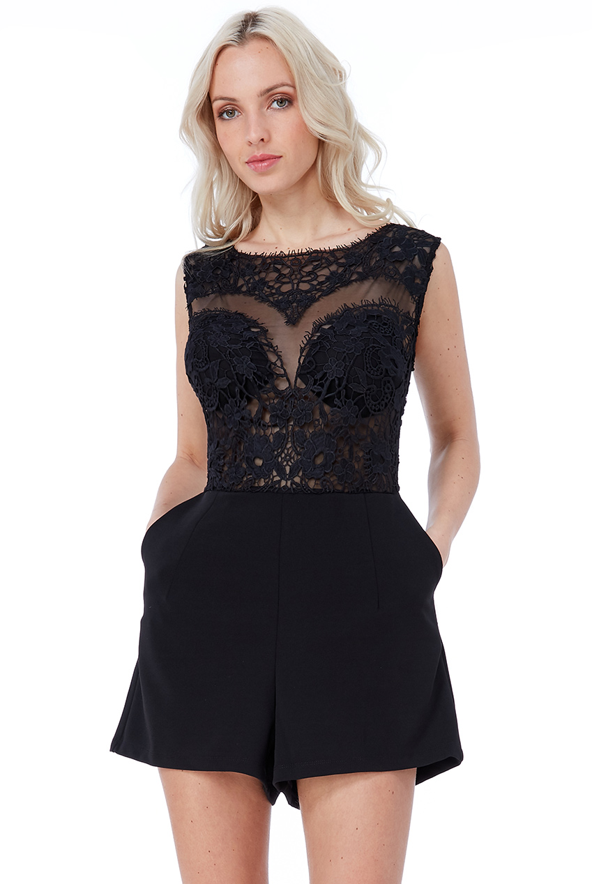 Wholesale Cosmochic - Mesh and Lace Bodice Playsuit