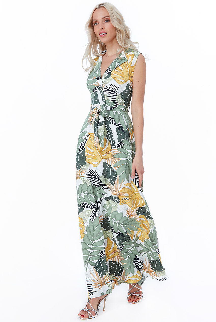 Wholesale Cosmochic - Leaf Print Maxi Shirt Dress