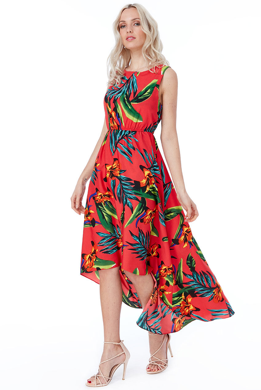 Wholesale Cosmochic - Tropical Print High Low Dress