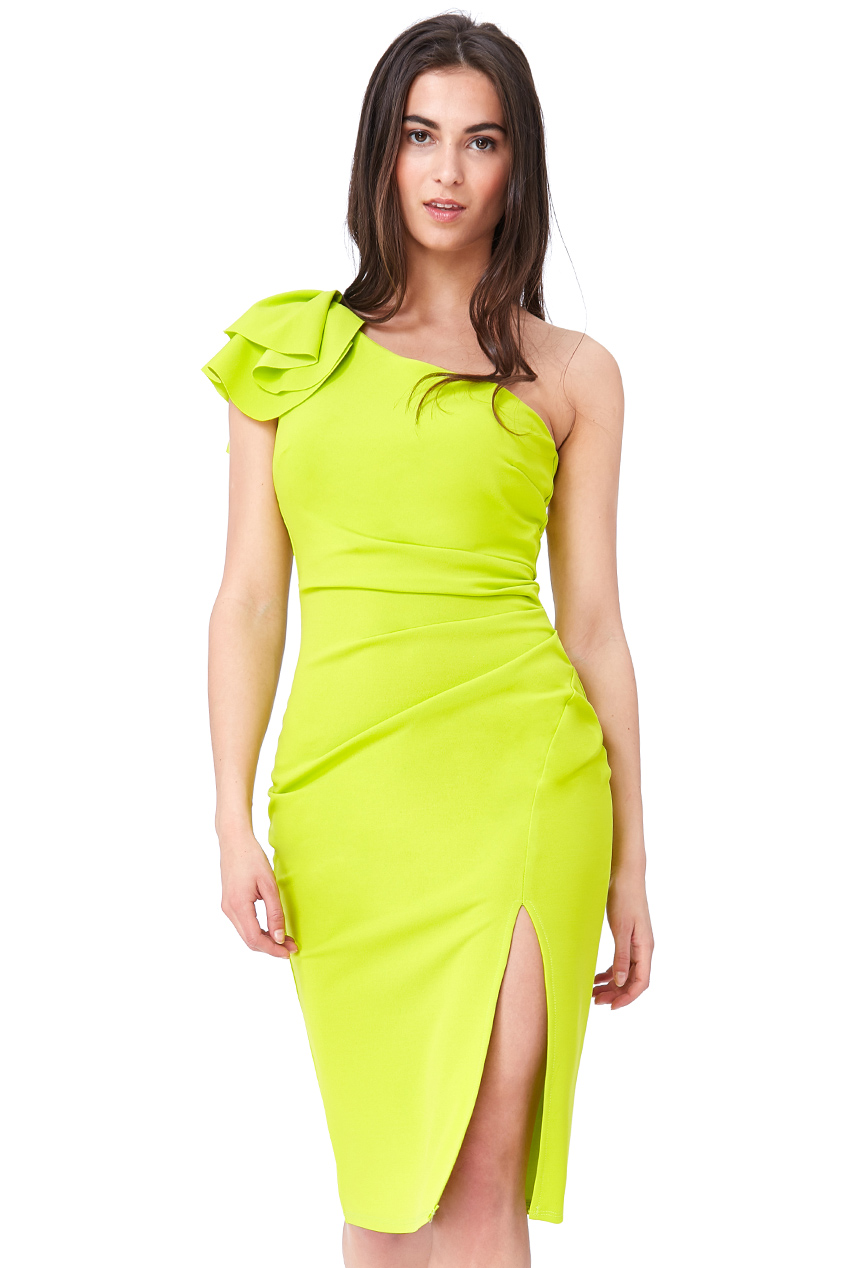 Wholesale Frilled One Shoulder Midi Dress