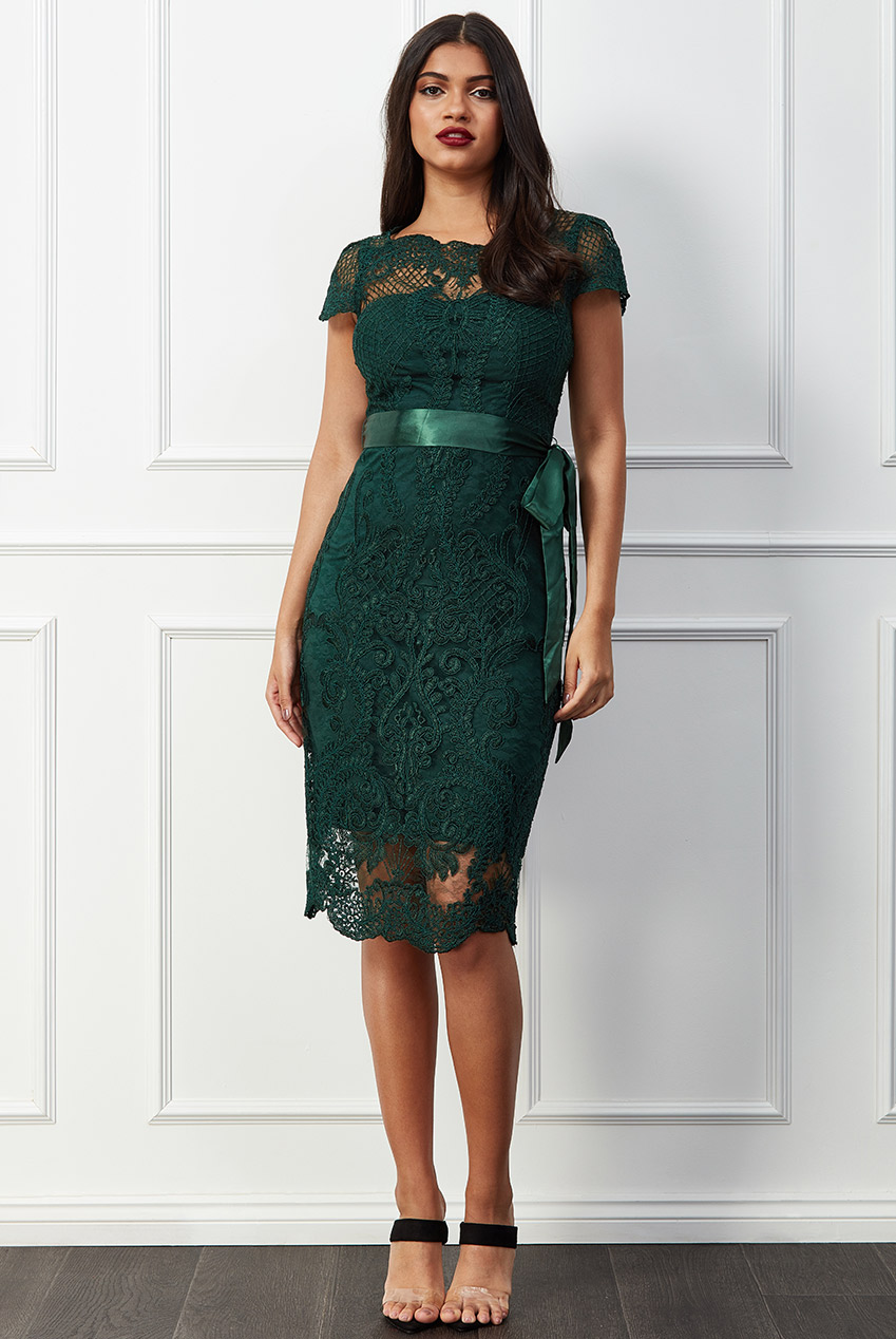 Wholesale Scallop Hem Lace Midi Dress