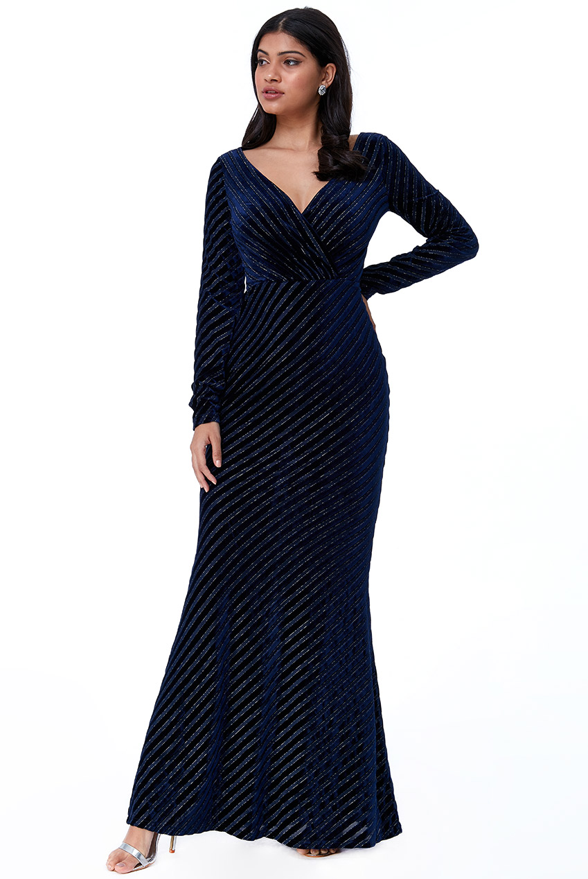 Wholesale Velvet Stripe Maxi Dress
