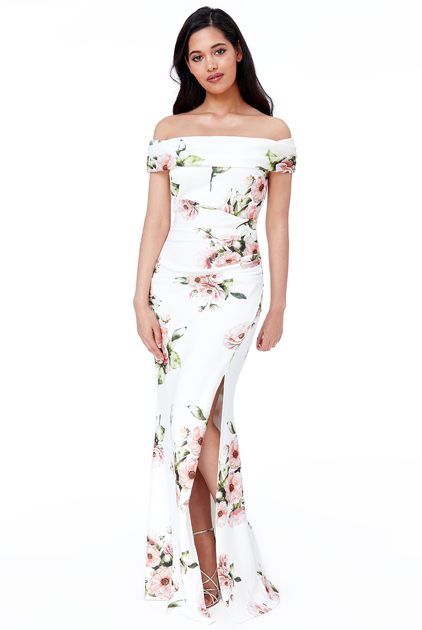 Wholesale Floral Off The Shoulder Maxi Dress with Split