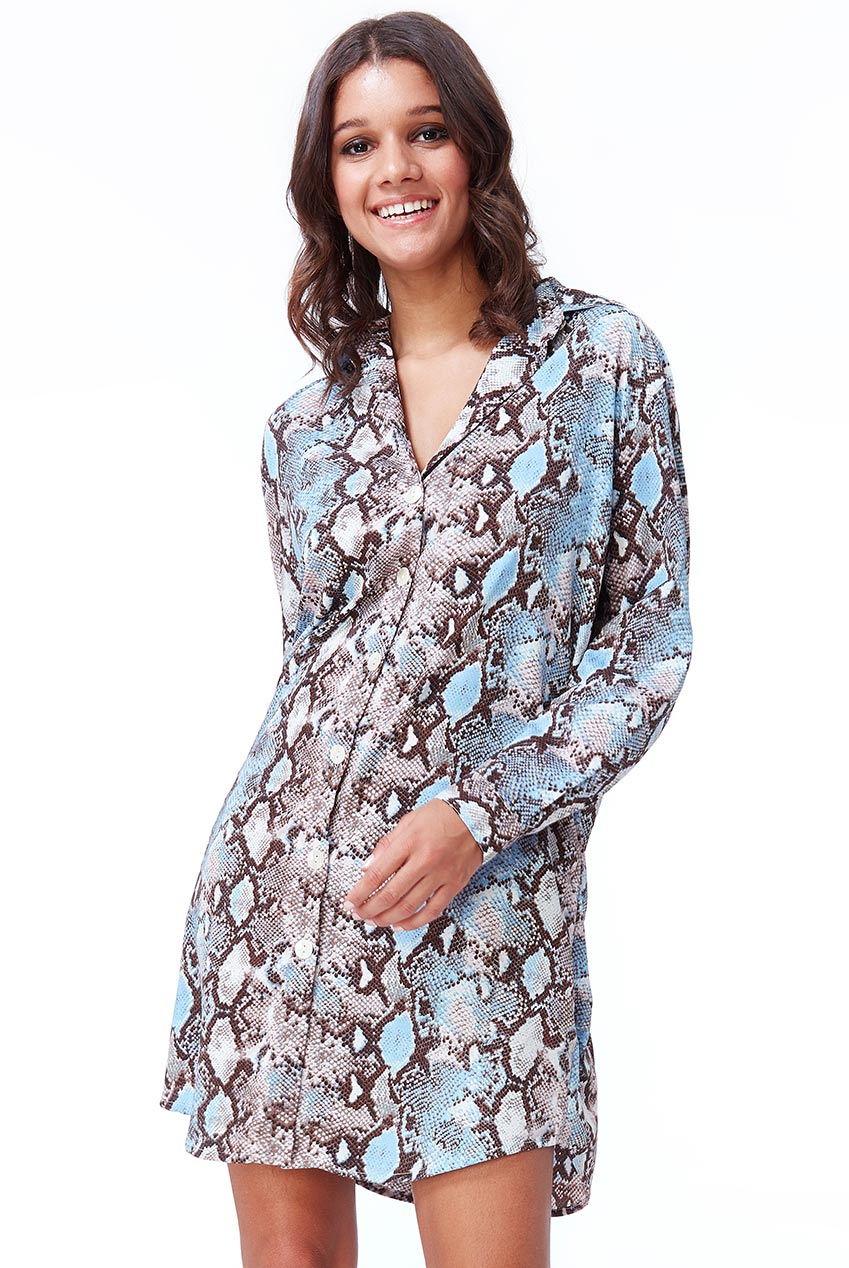 Wholesale Cosmochic - Snake Print Shirt Dress