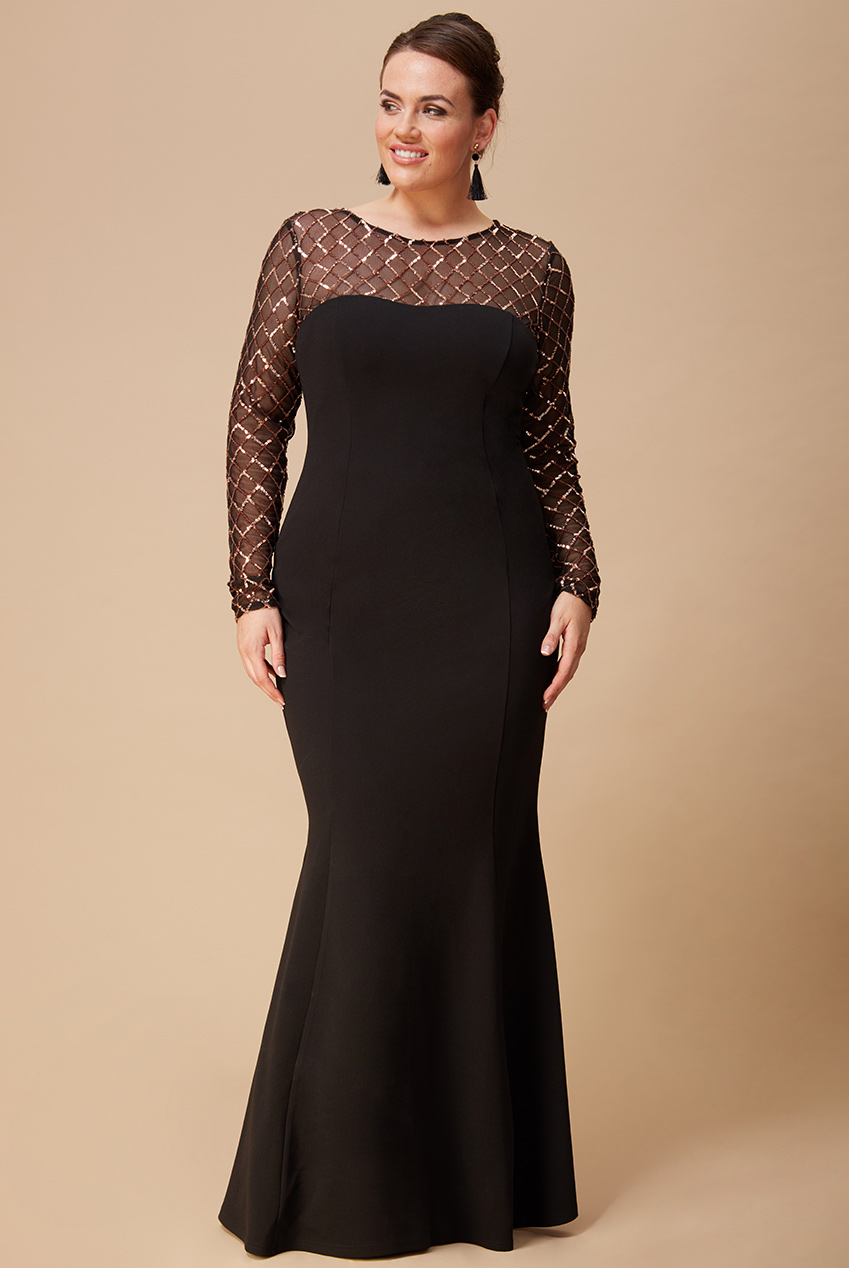 Wholesale Plus Size Diamond and Sequin Contrast Maxi Dress