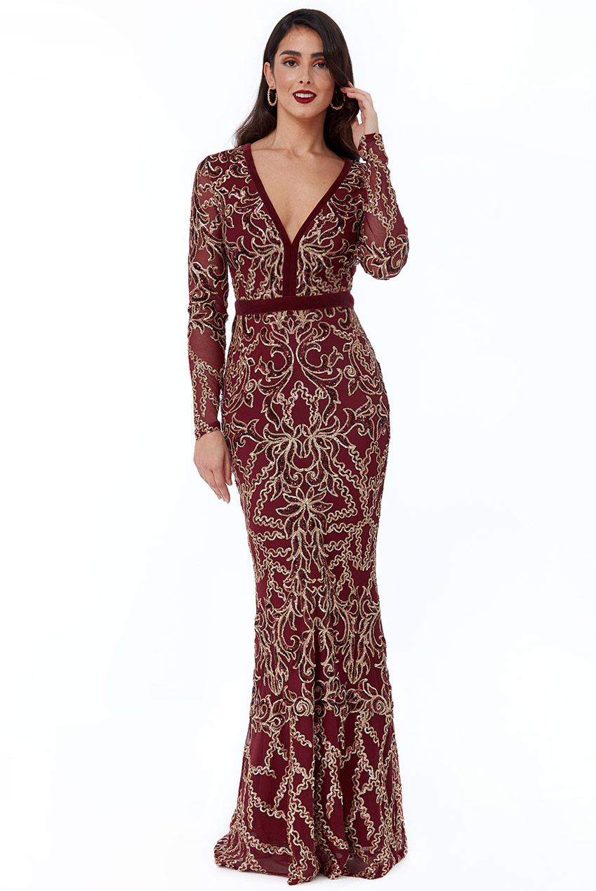 Wholesale Sheer Sleeve Sequin Maxi Dress
