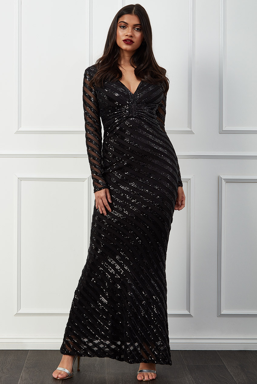 Wholesale Sequin Stripe Front Bow Maxi Dress