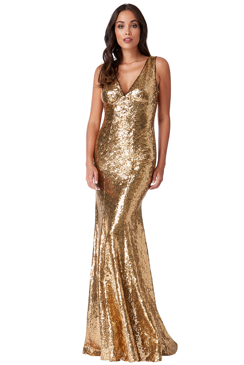 Wholesale Sequinned Low V Neck Dress