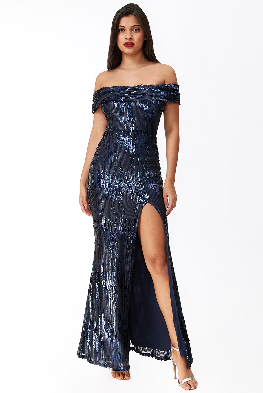 Wholesale 3D Sequin Bardot Maxi Dress