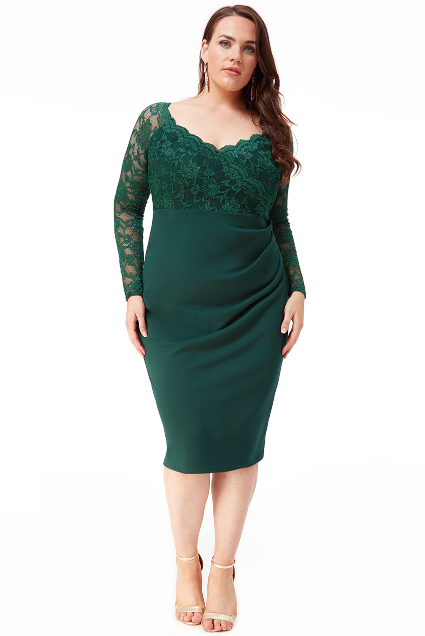 Wholesale Plus Size Lace Wrap Pleated Midi Dress