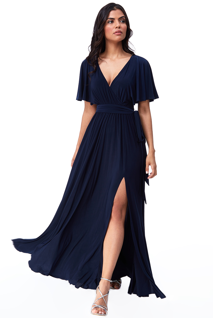 Wholesale Wrap Front Maxi with Flutter Sleeves