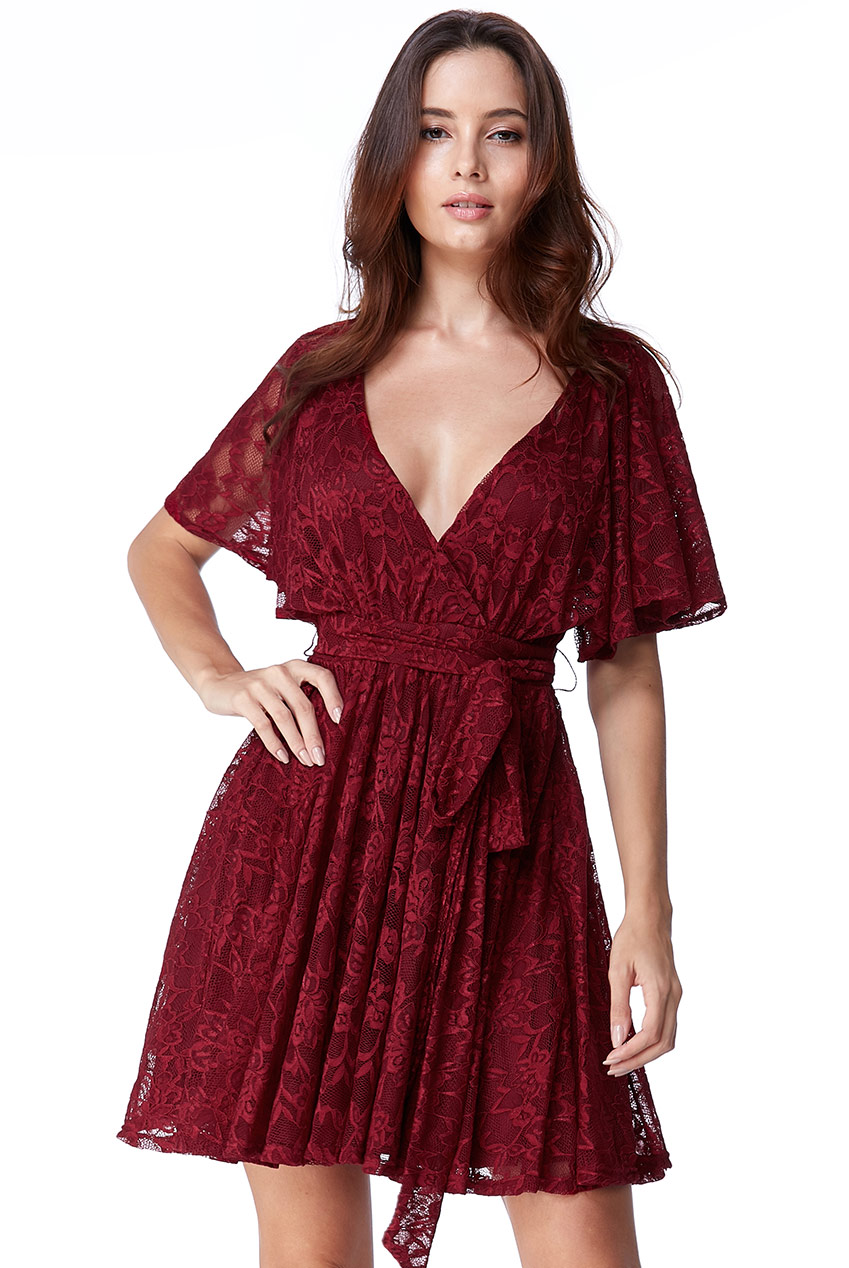 Wholesale All Lace Kimono Wrap Skater Dress