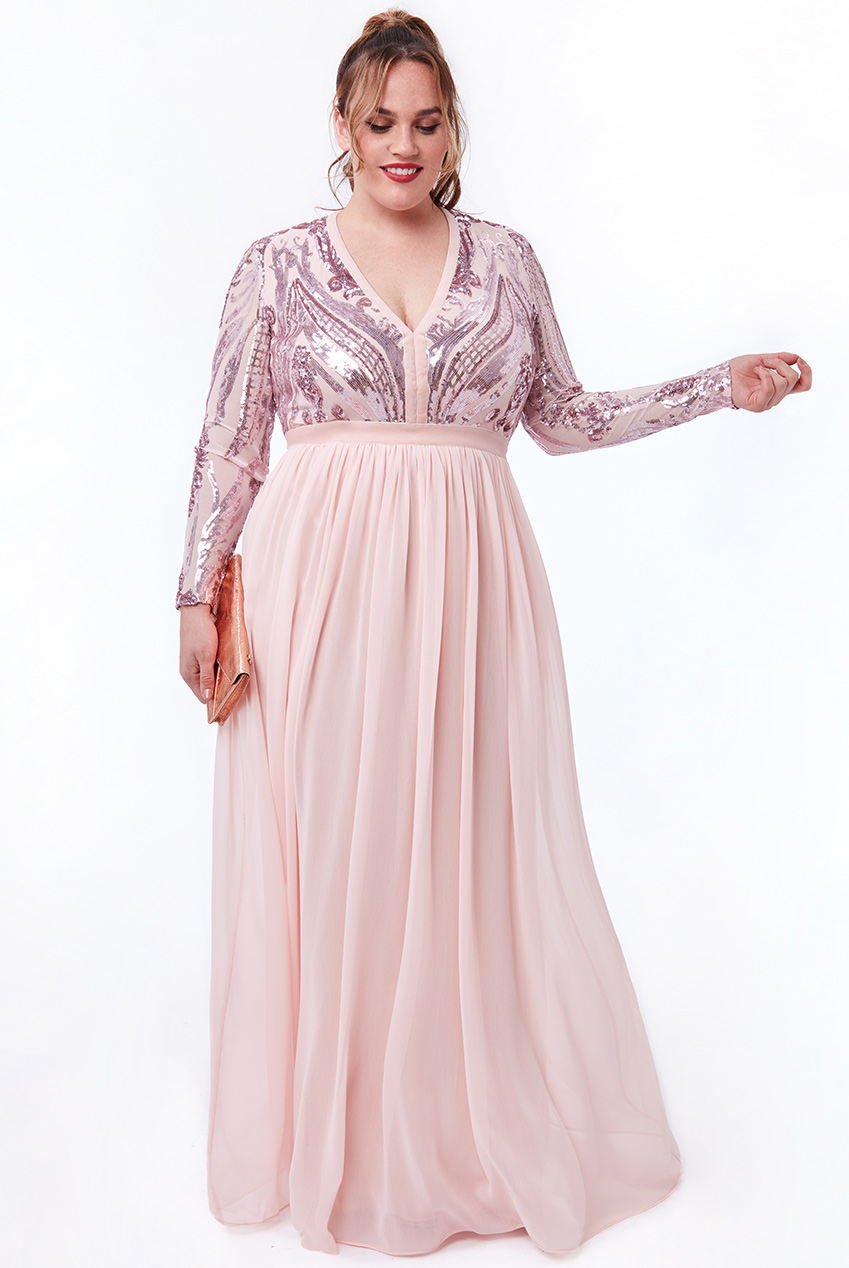 Wholesale Plus Size Sequin and Mesh Bodice Maxi Dress with Chiffon Skirt