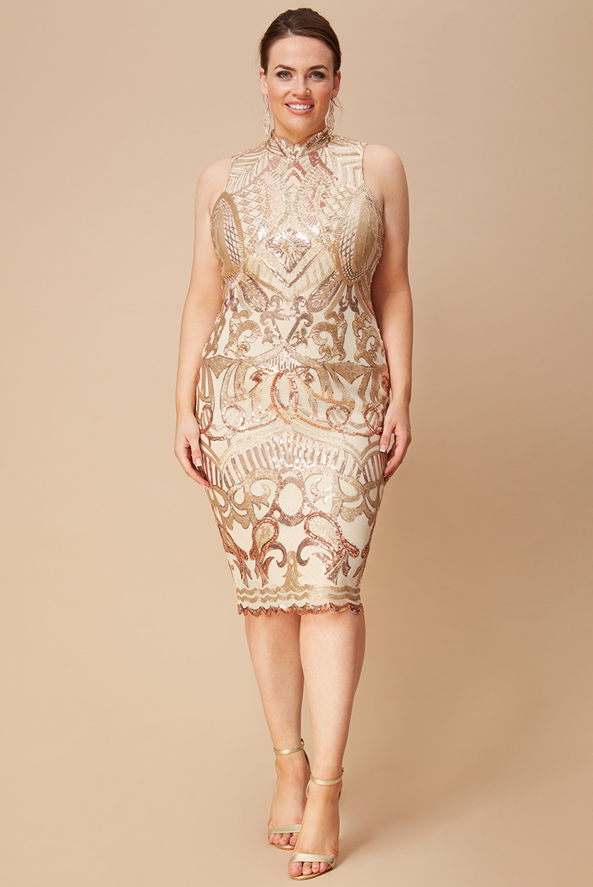 Wholesale Plus Size High Collar Sequin Midi with Scalloped Hem