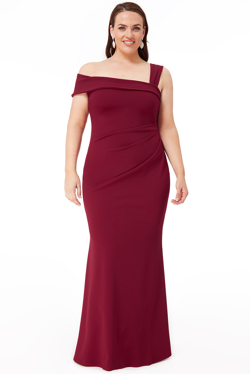 Wholesale Plus Size Off The Shoulder Pleated Waist Maxi Dress