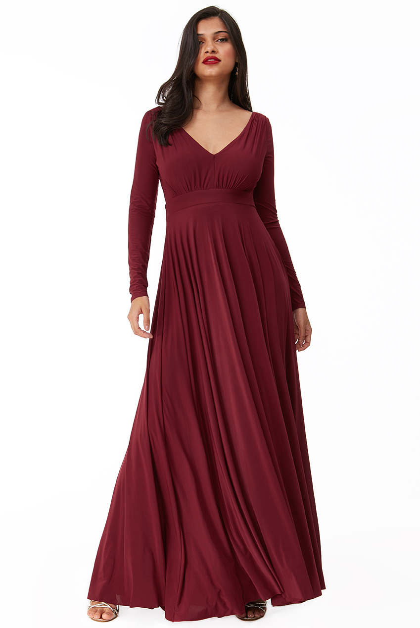 Wholesale Plunge Neck Pleated Maxi Dress