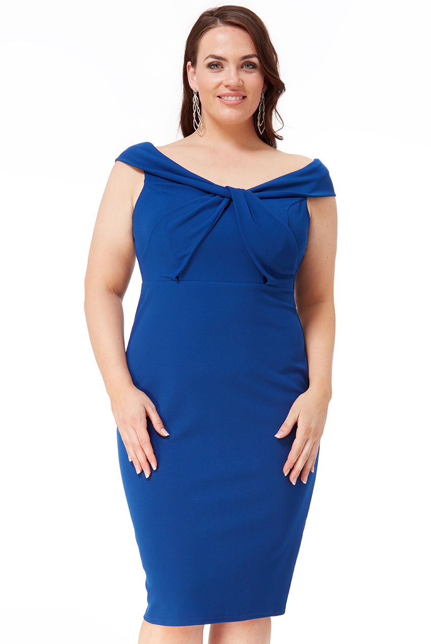 Wholesale Plus Size Front Twist Bardot Midi Dress
