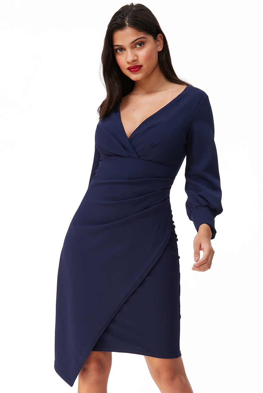 Wholesale Wrap Pleat Midi Dress