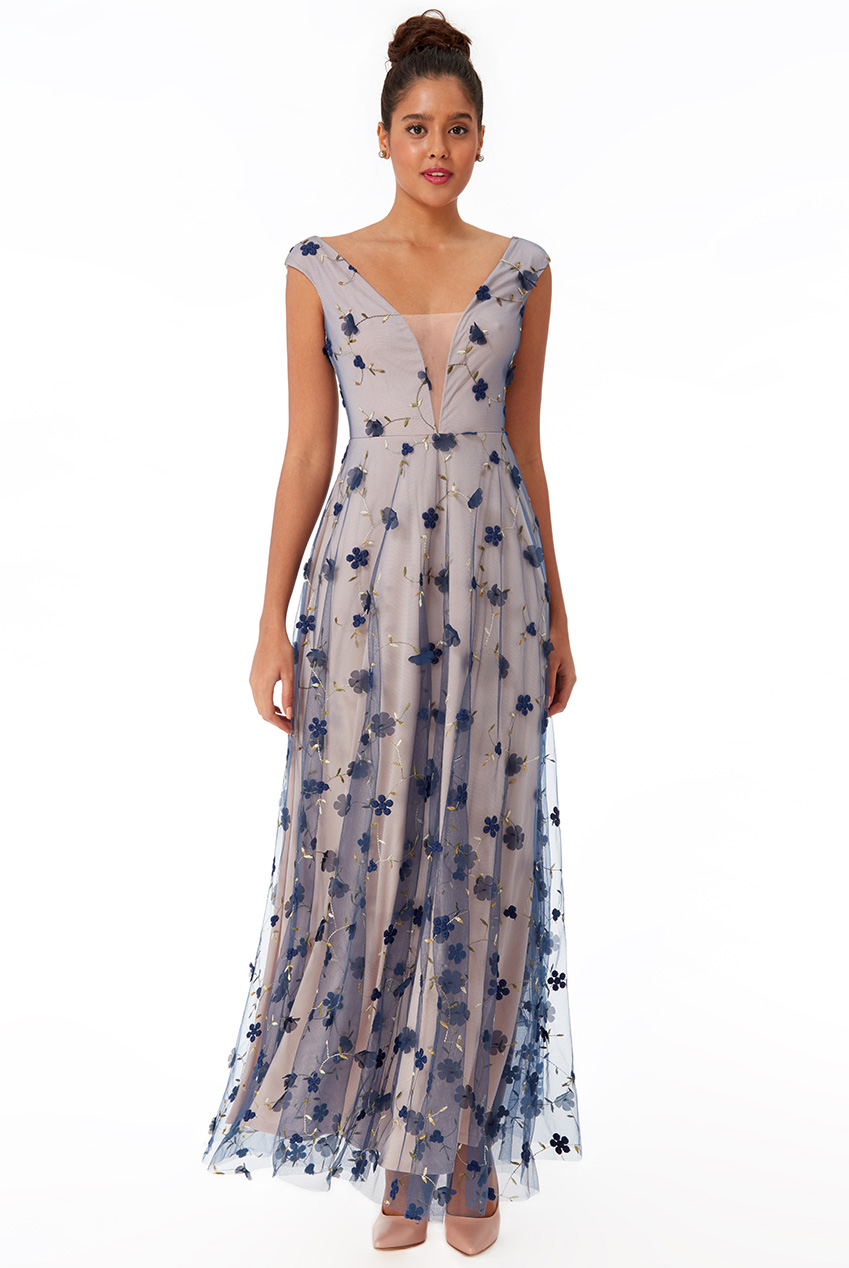 Wholesale Three D Flower Mesh Maxi Dress