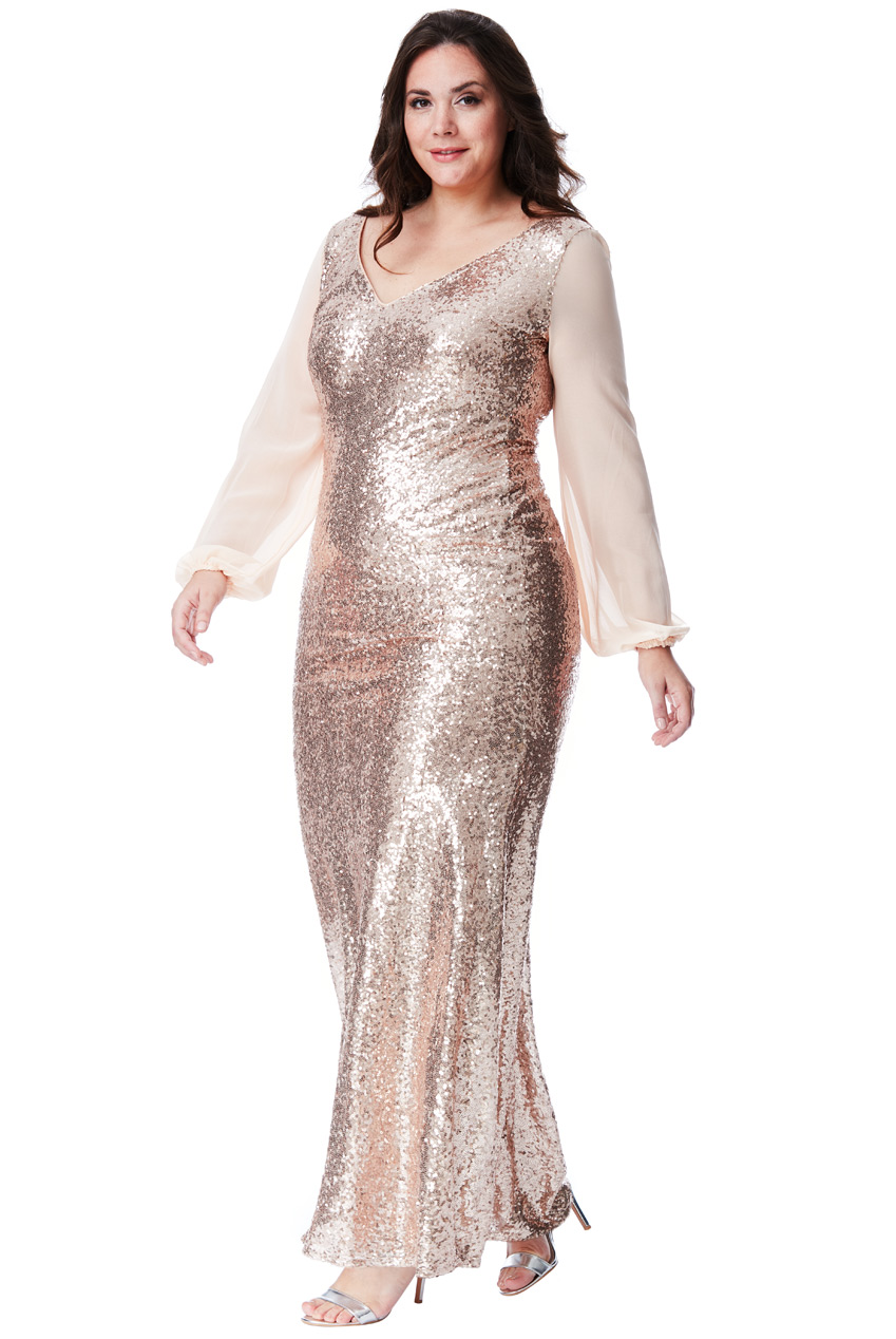 Wholesale Plus Size V Neck Sequined Plus Size Maxi Dress