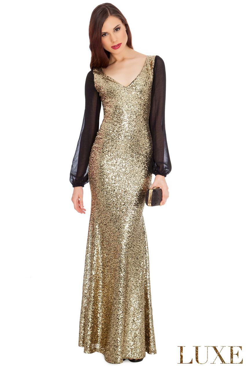 Wholesale Sheer Sleeved Sequined Dress