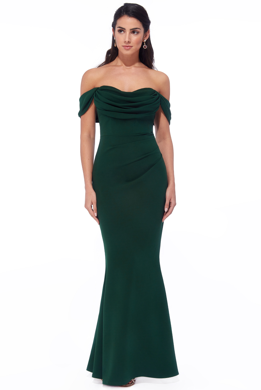 Wholesale Cowl Neck Off The Shoulder Maxi Dress