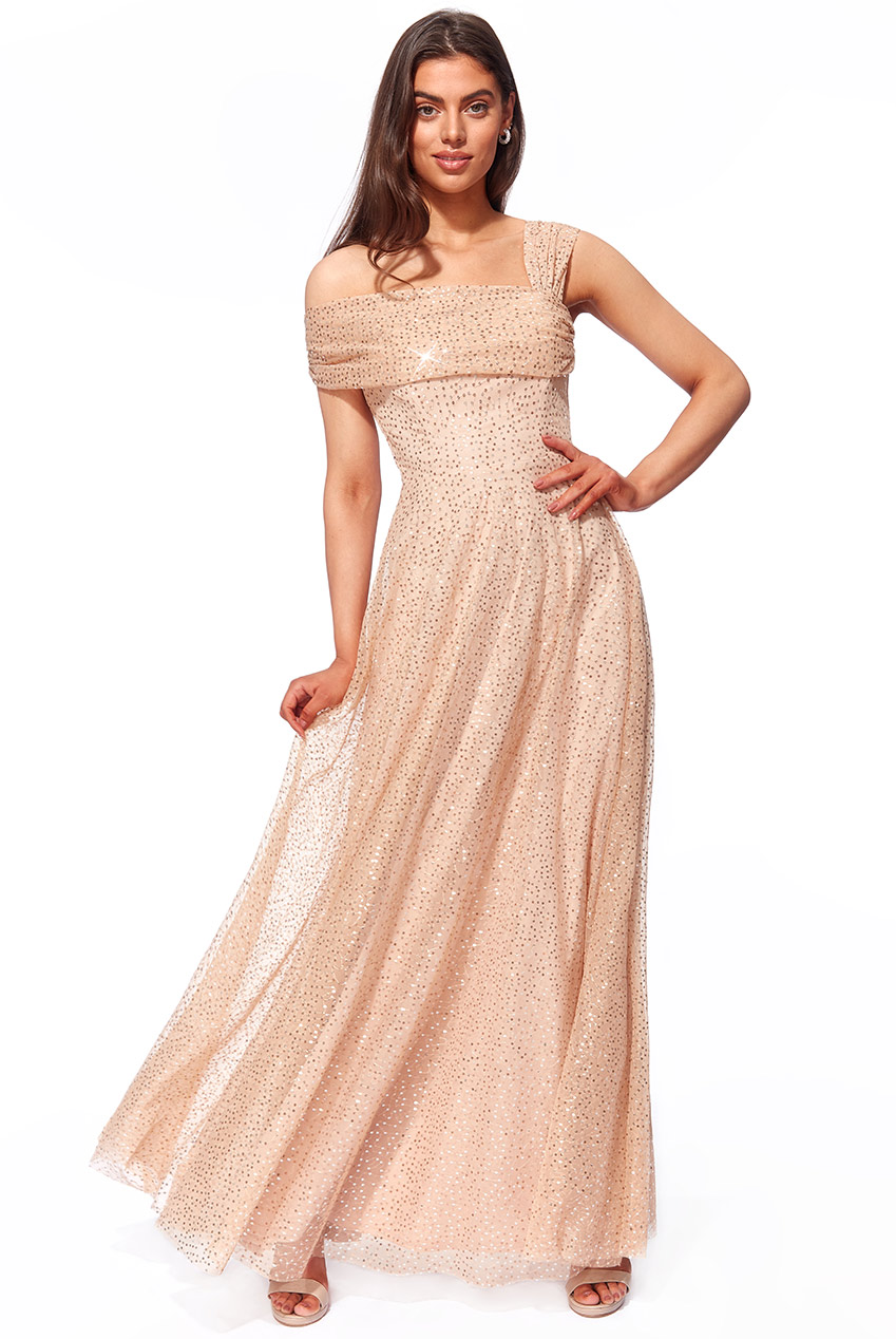Wholesale One Shoulder Bardot Sequin and Mesh Maxi Dress