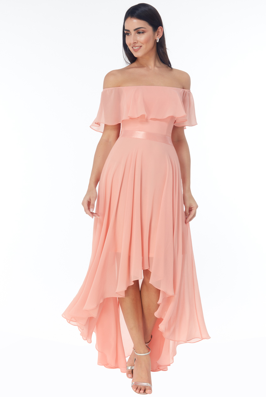 Wholesale Chiffon Bardot High Low Dress