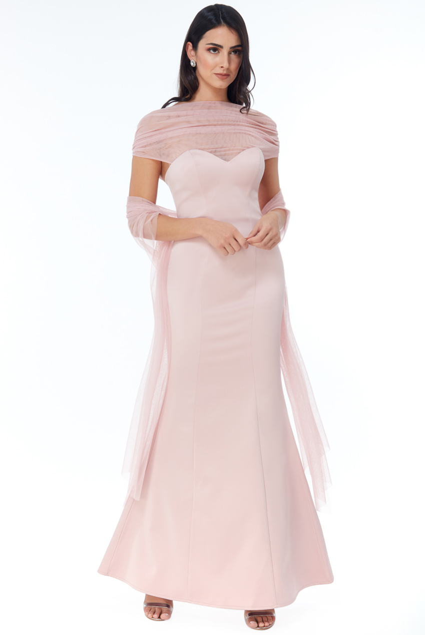 Wholesale Boob Tube Tulle Neck Maxi Dress