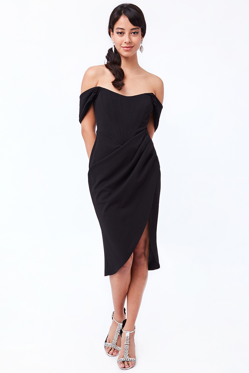 Wholesale Off The Shoulder Corset Style Midi Dress