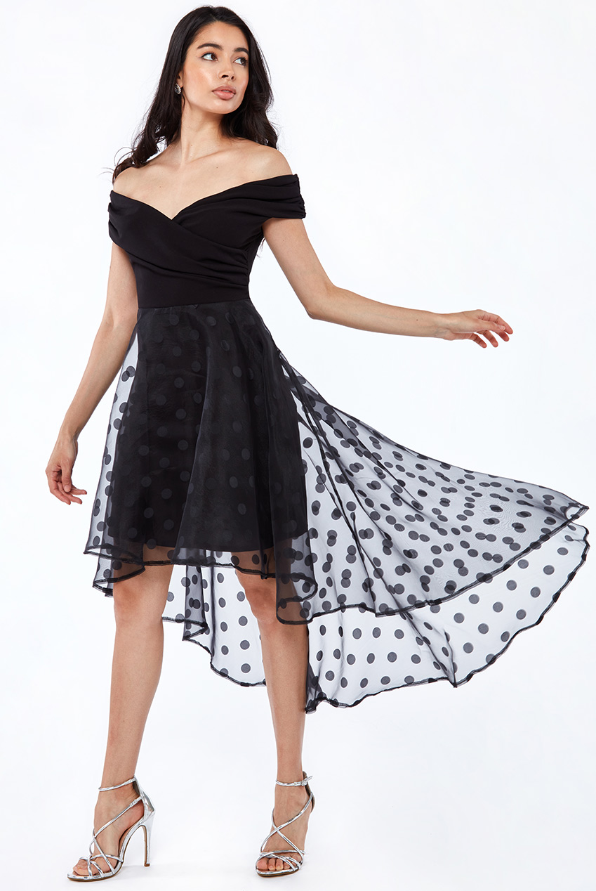 Wholesale Scuba off shoulder with Dot organza high and low skirt dress