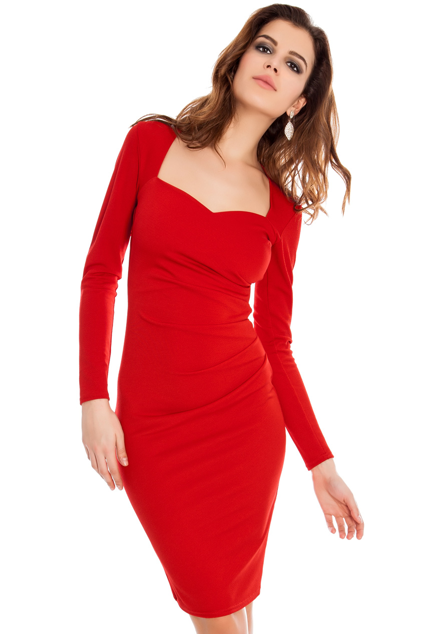 Wholesale Long sleeve ruched jersey dress