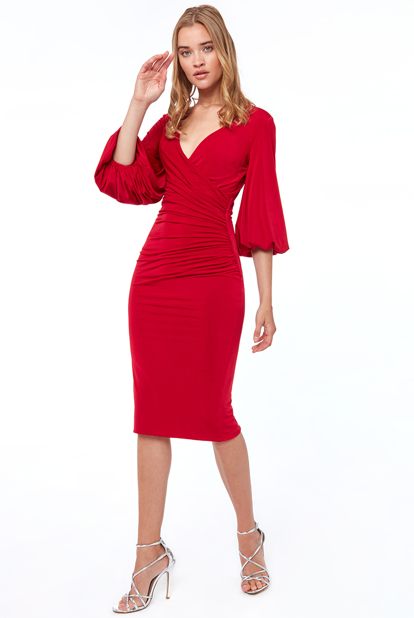 Wholesale Flaired Sleeve Midi Dress