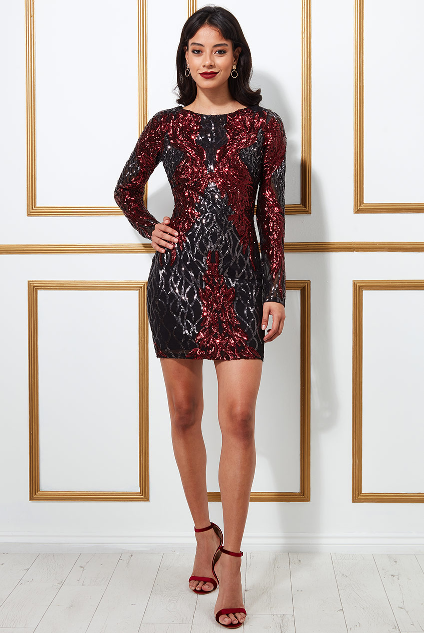 Wholesale Boat Neck Full Sleeve Sequin Midi Dress