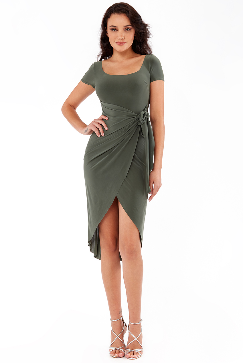 Wholesale Wrap Over Midi Dress