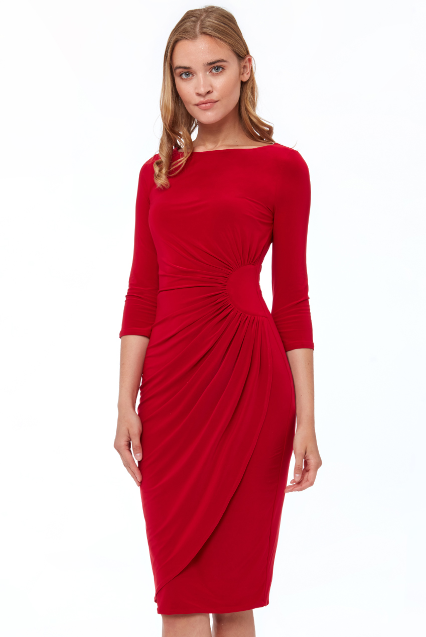 Wholesale Star Bust Gathers From Waist Midi Dress