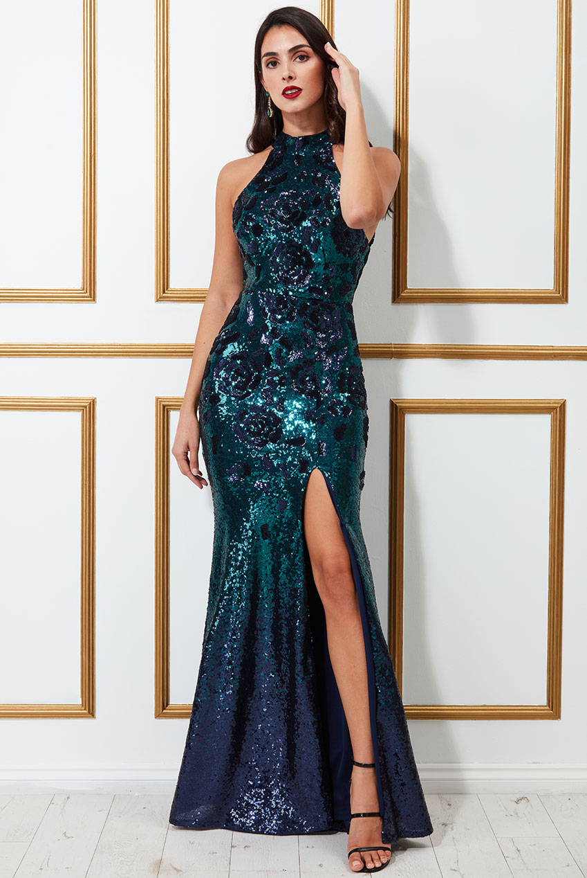 Wholesale Sequin Embroidered Halterneck Evening Maxi Dress
