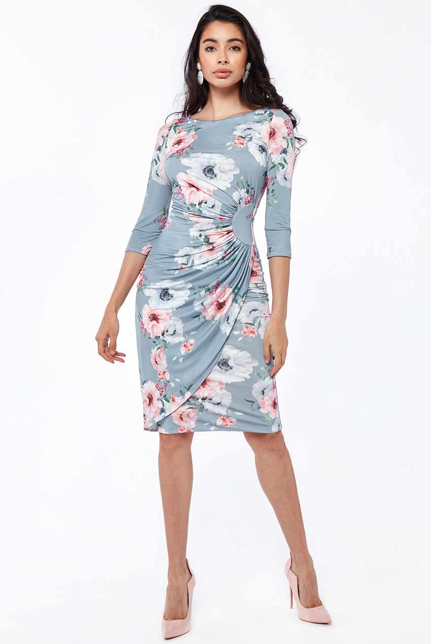 Wholesale Floral Print Star Bust Gathers From Waist Midi Dress
